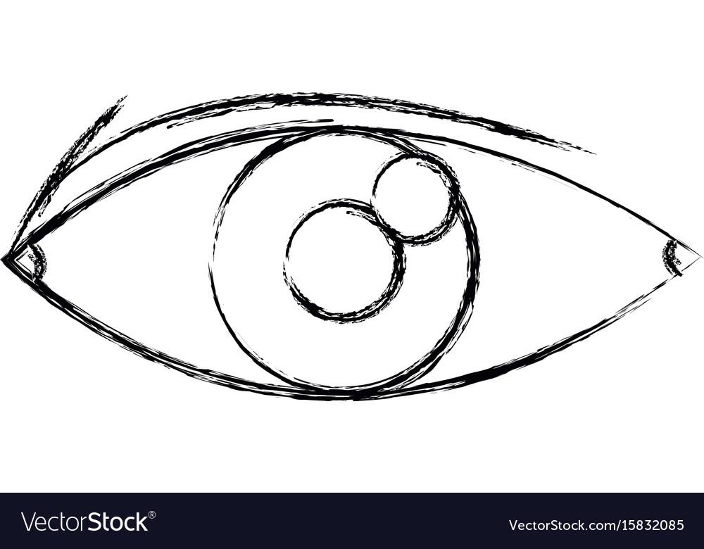 Eye look optical vision eyebrow symbol vector image