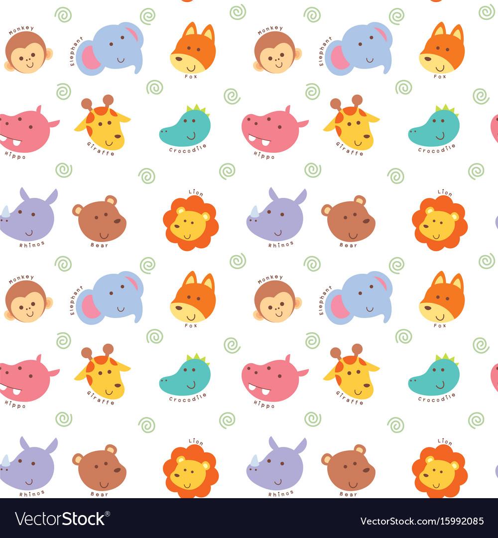 Seamless pattern cute wild animal vector image