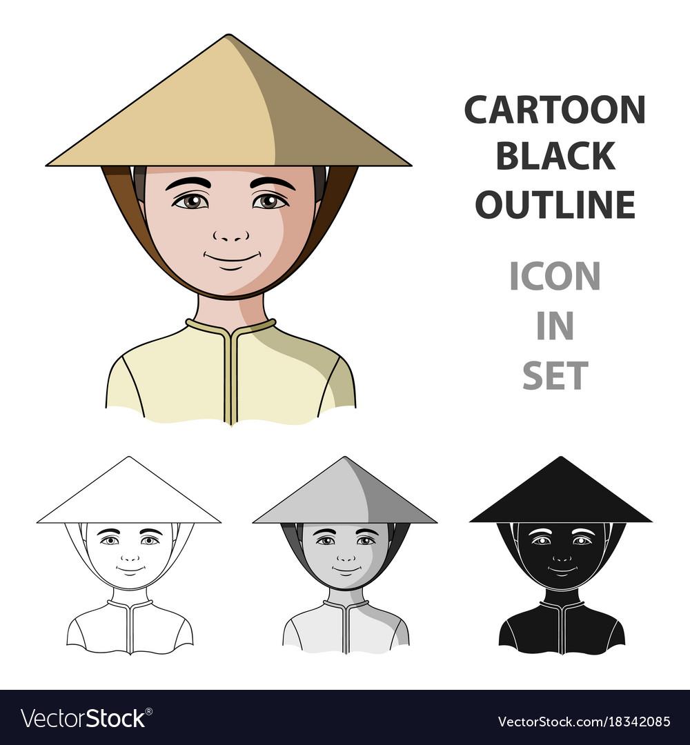 Vietnamesehuman race single icon in cartoon style vector image