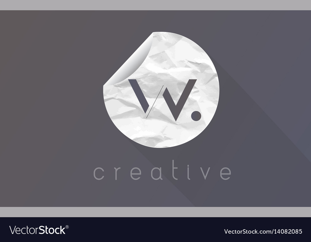 W letter logo with crumpled and torn wrapping vector image