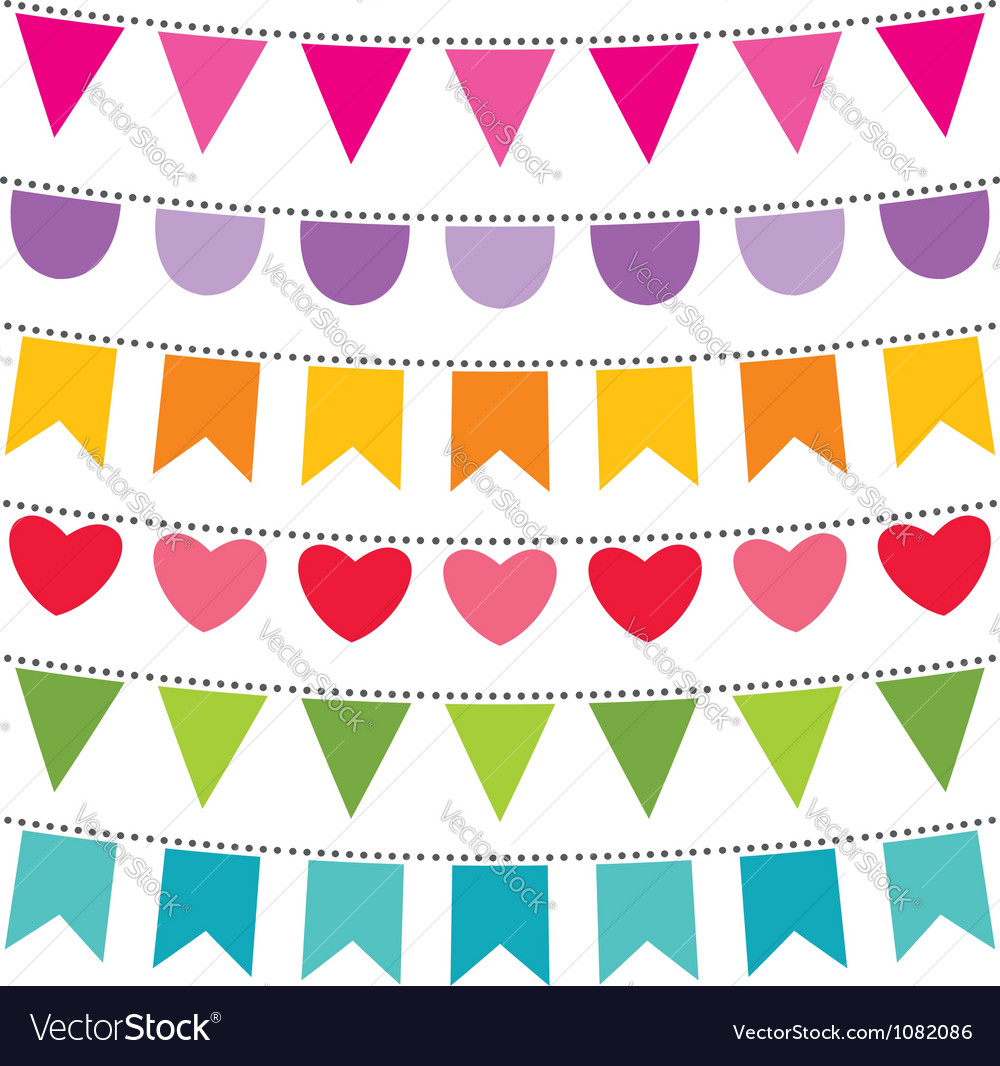 Bunting flags set vector image
