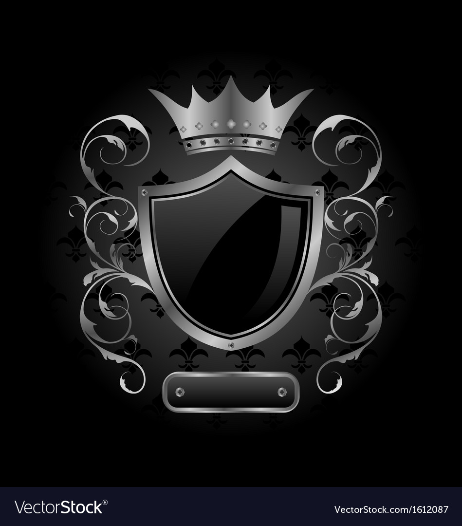 Ornate heraldic shield with crown vector image