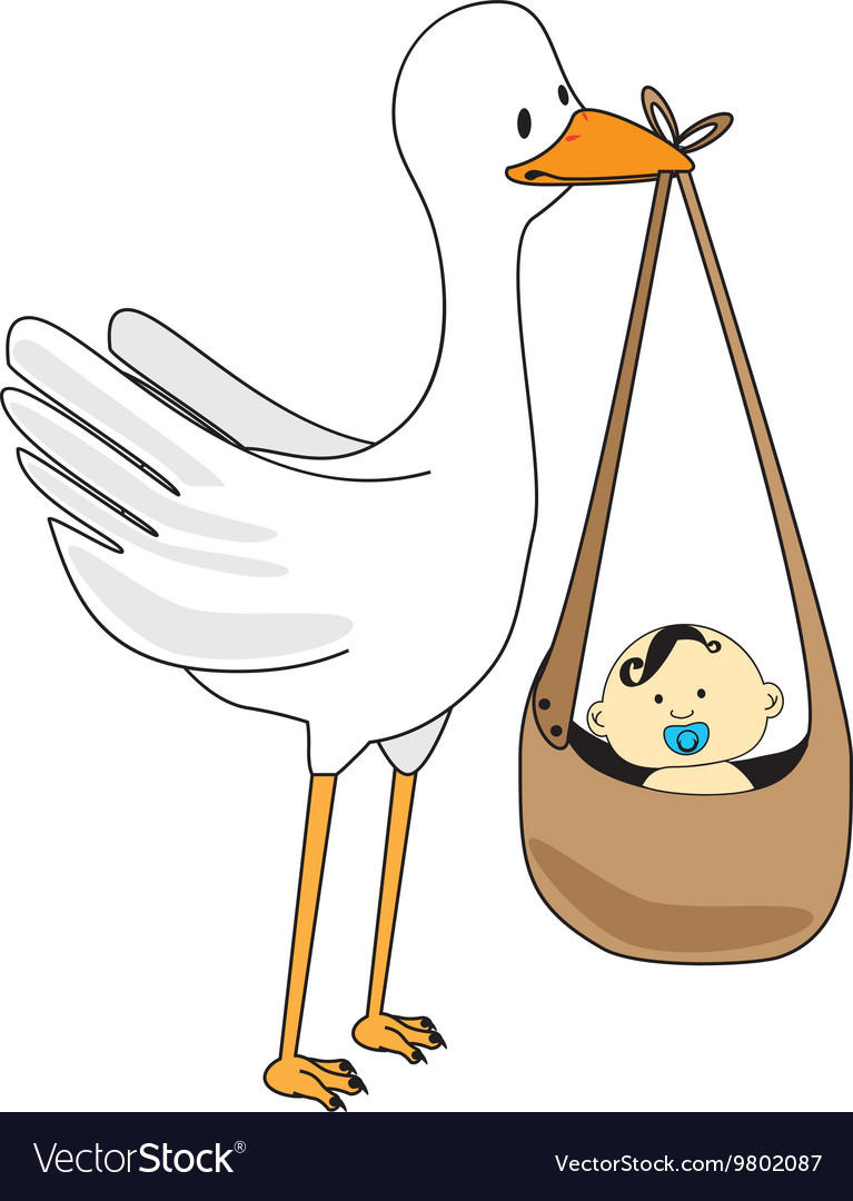 Stork with baby cartoon graphic design vector image