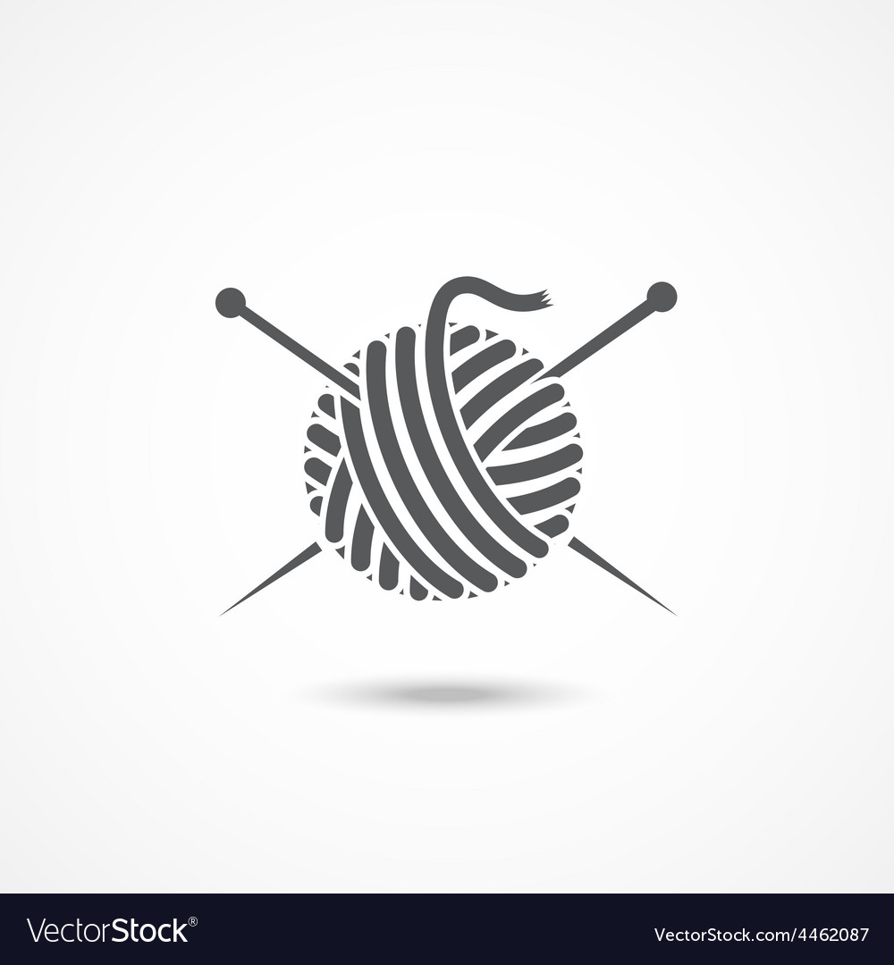 Yarn ball and needles icon vector image