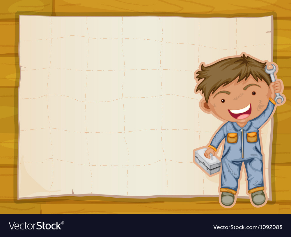 Boy and a paper sheet vector image