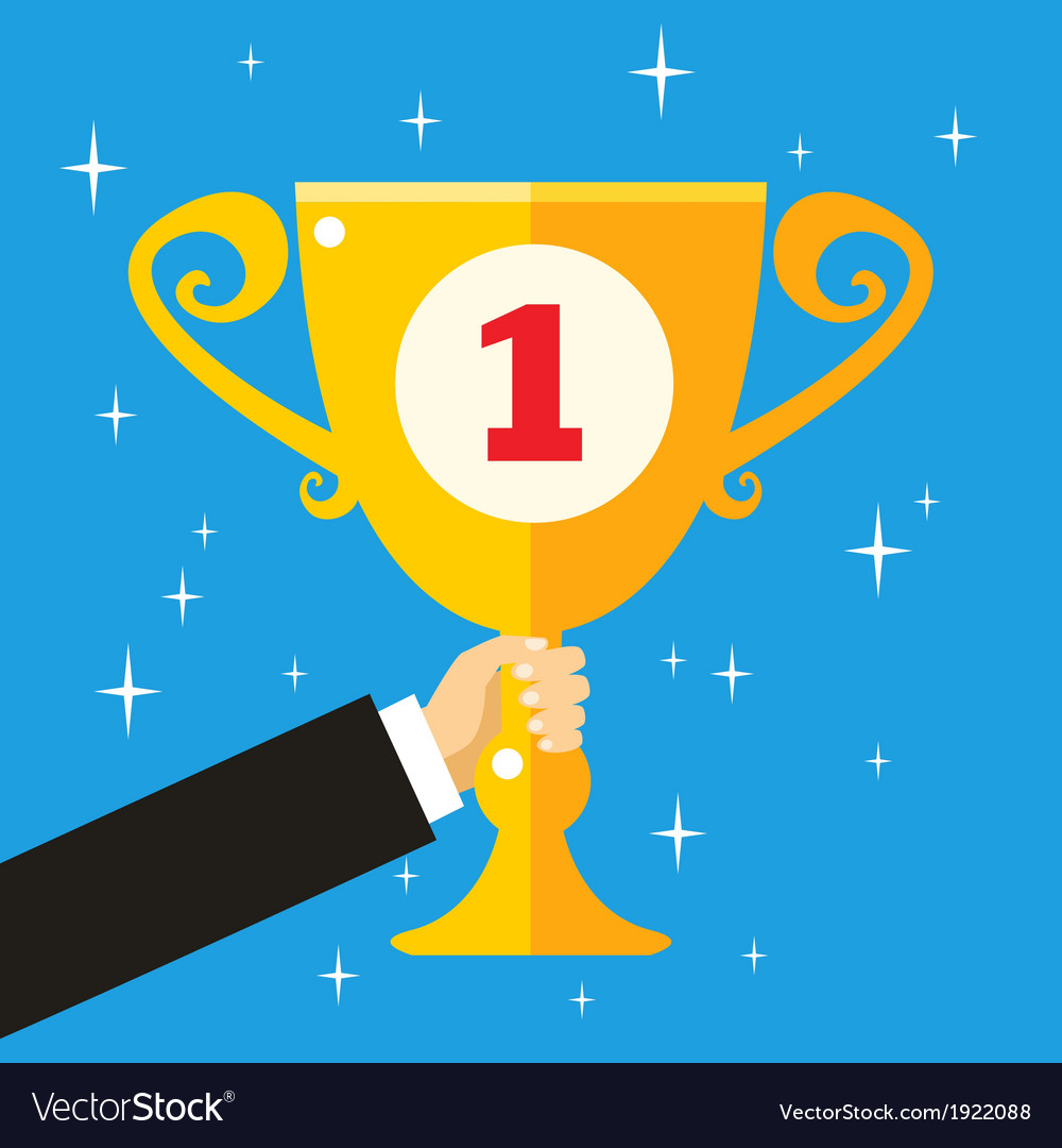 Business hand holding trophy cup vector image