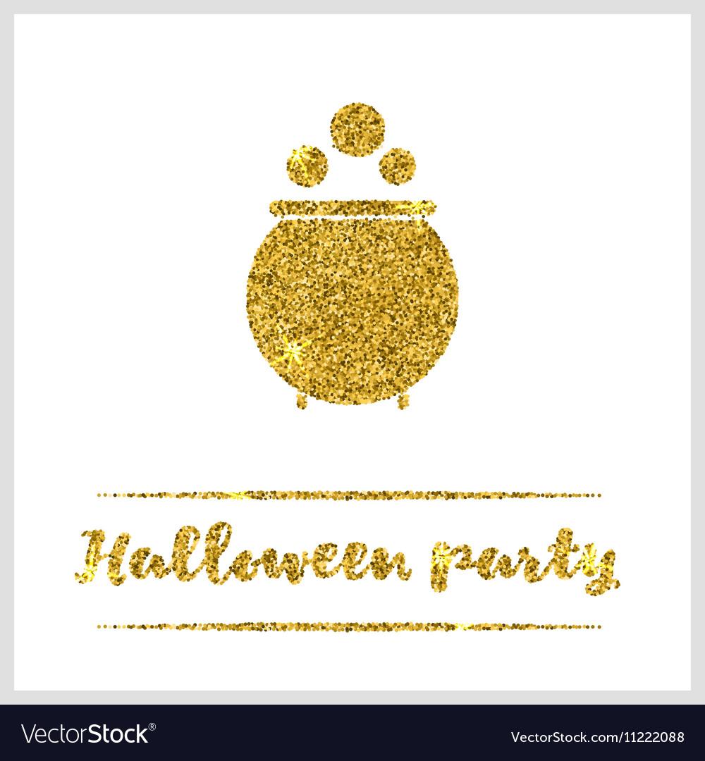 Halloween gold textured pot icon vector image