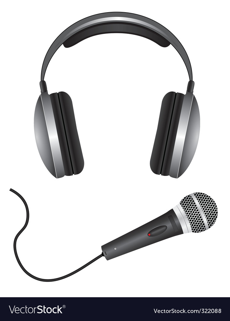 Microphone and headphones vector image