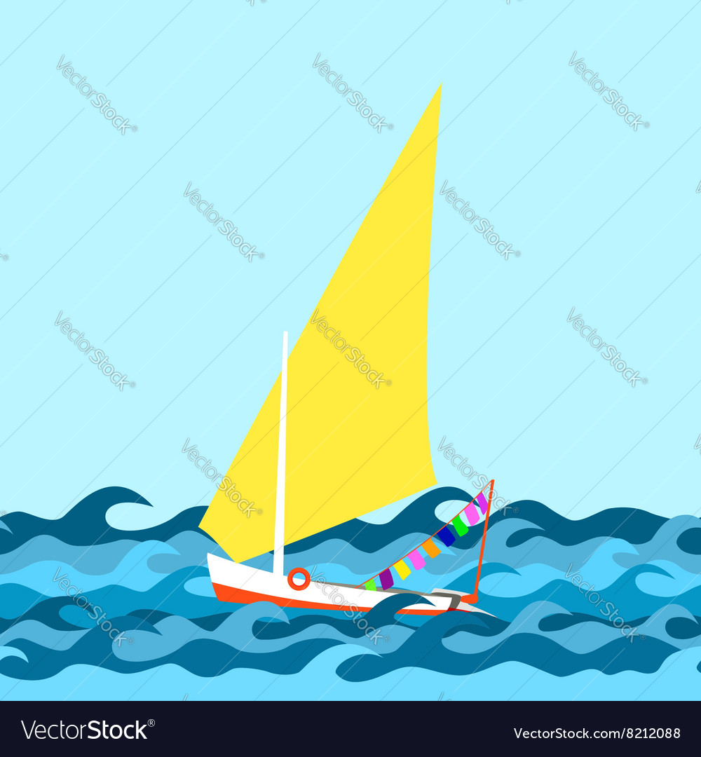 Seamless border made from sea waves and yacht vector image
