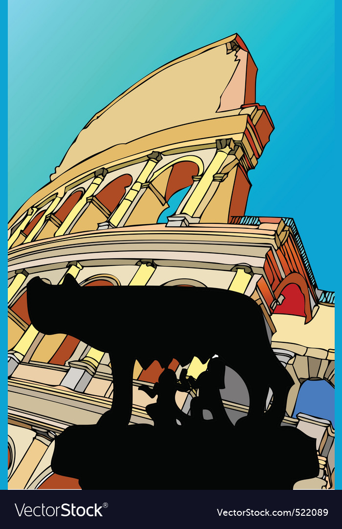 Shewolf with the colosseum rome italy Vector Image