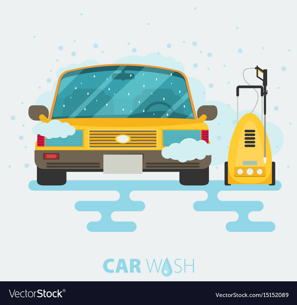 Car wash web banner in flat style with car tool vector image