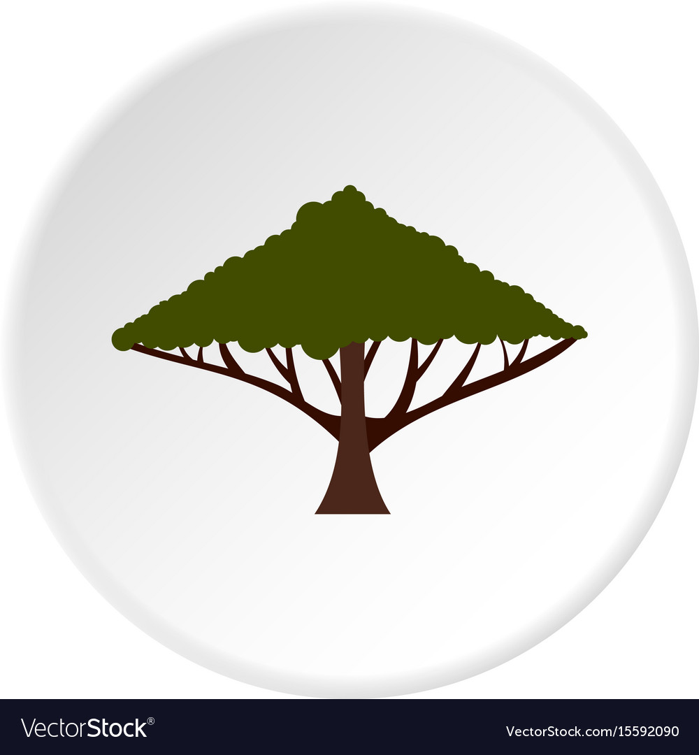 Tree with large crown icon circle vector image