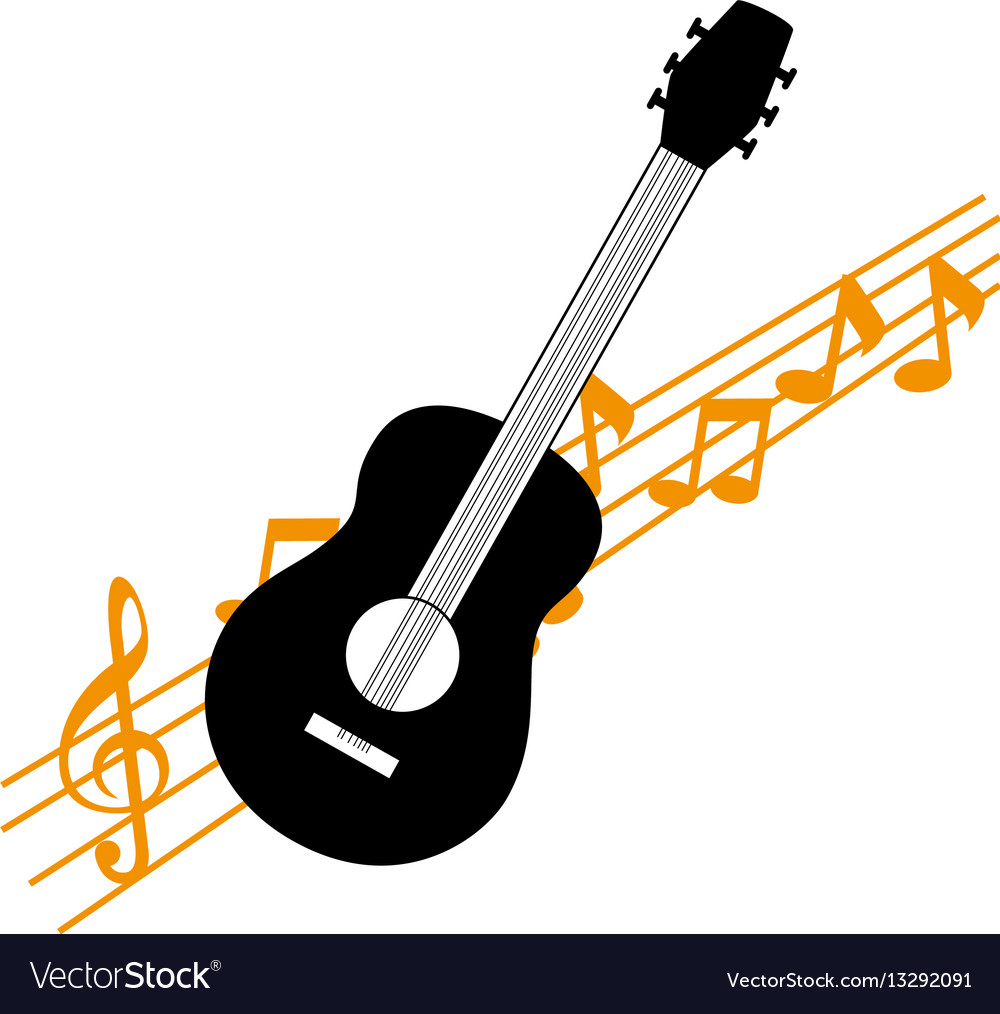 acoustic guitar with musical notes royalty free vector image rh vectorstock com Music Notes Music Note Icon