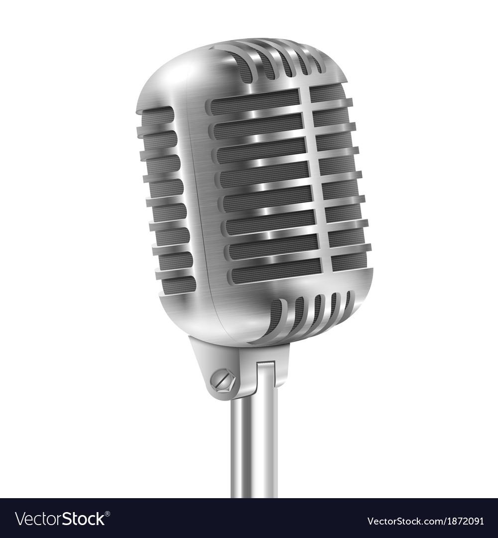 Isolated On White Metallic Retro Microphone vector image