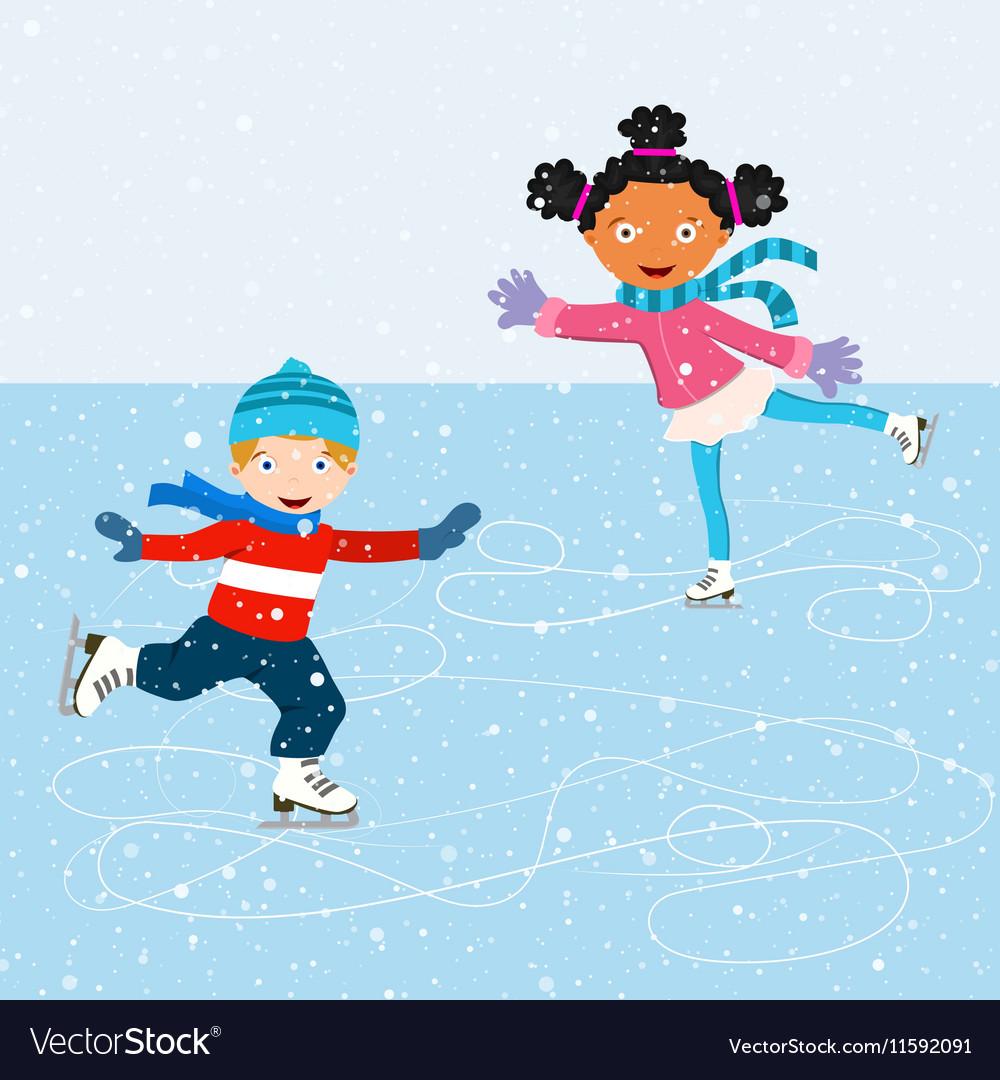 Winter scene with skating children vector image