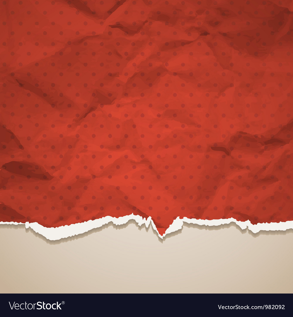 Crumpled torn paper vector image