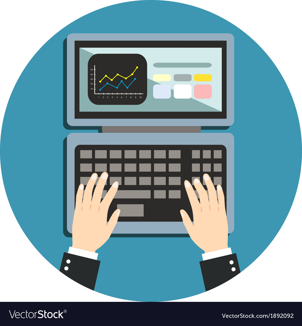 Business hand on notebook keyboard vector image