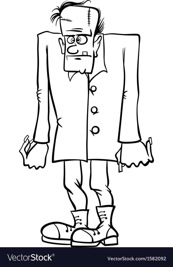 Frankenstein Cartoon For Coloring Book Vector Image