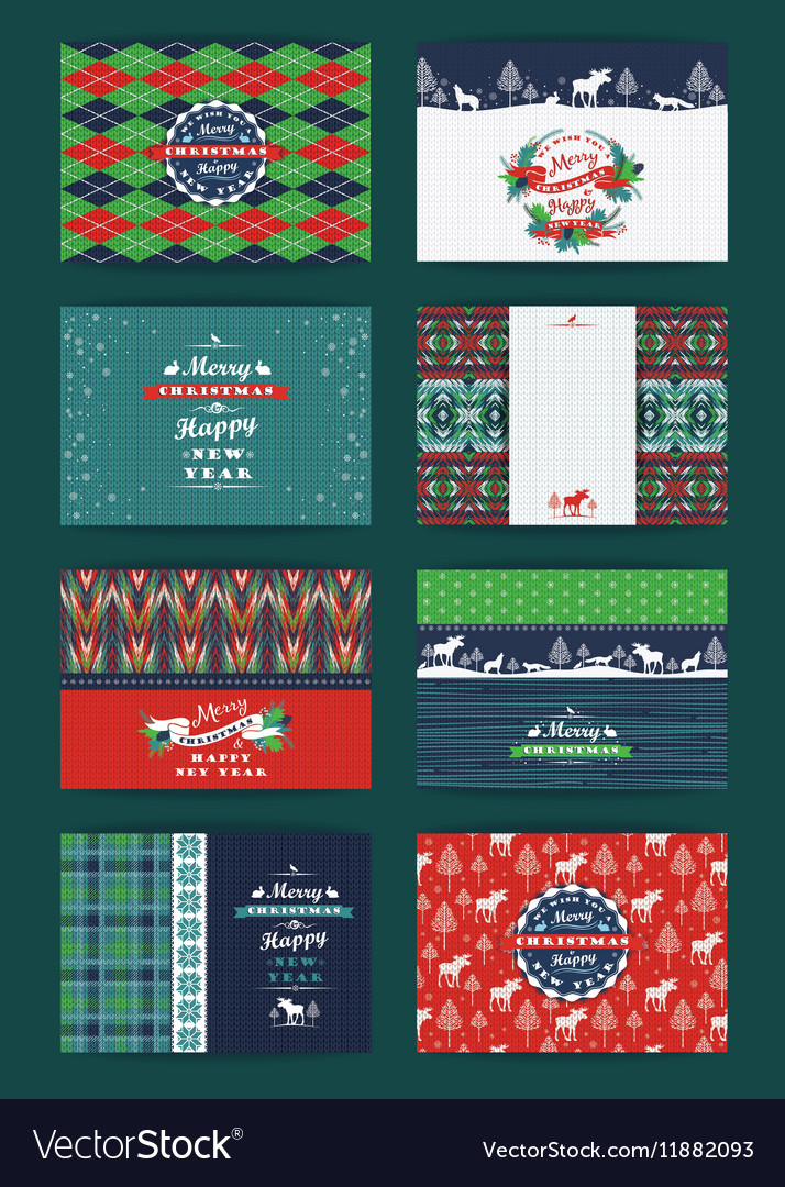 Christmas and New Year Set Plaid and knitted vector image