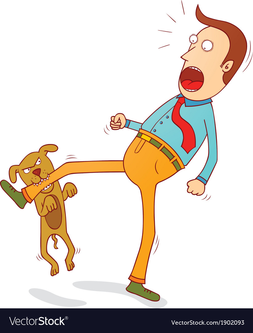 Naughty dog biting foot vector image