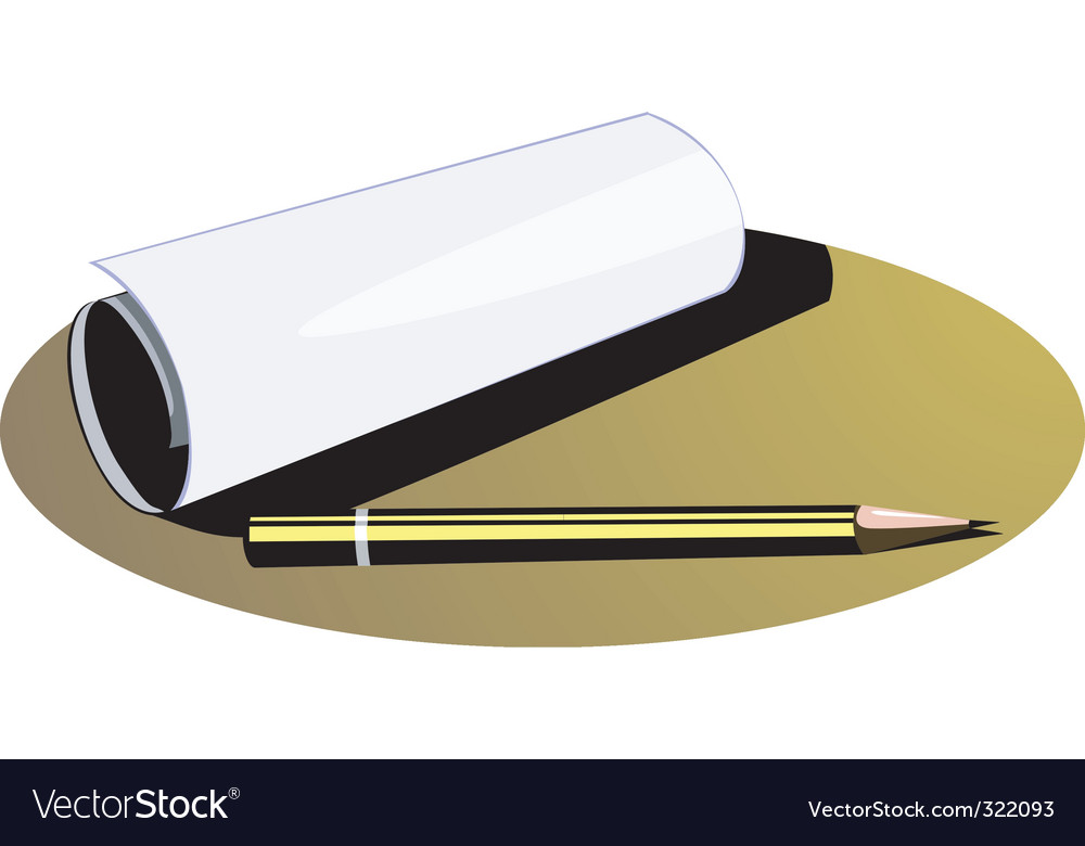 Paper and pencil vector image