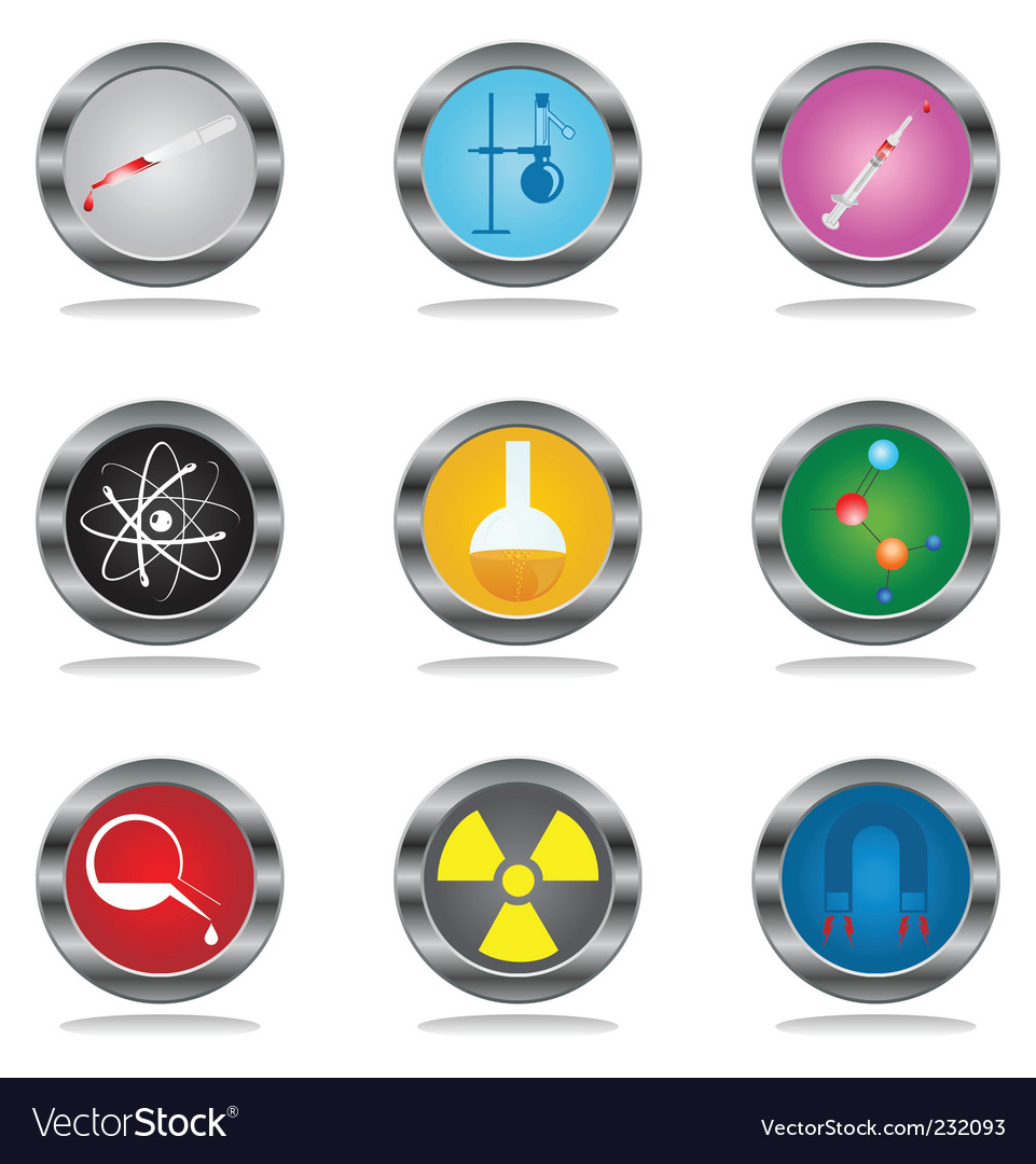 Science buttons vector image