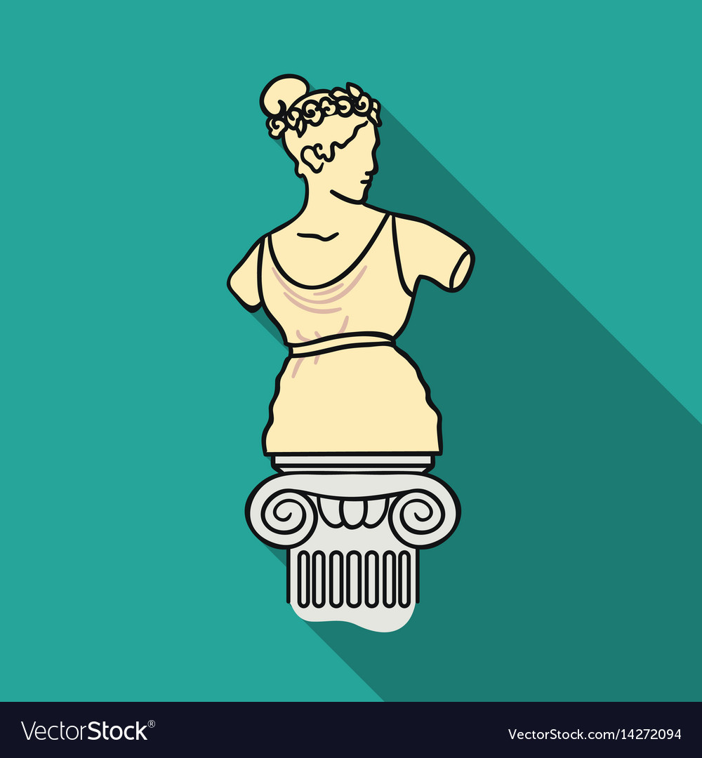 Statue icon in flat style isolated on white vector image