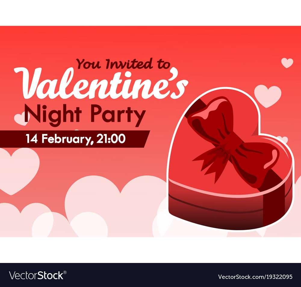Valentine day party invitation Royalty Free Vector Image