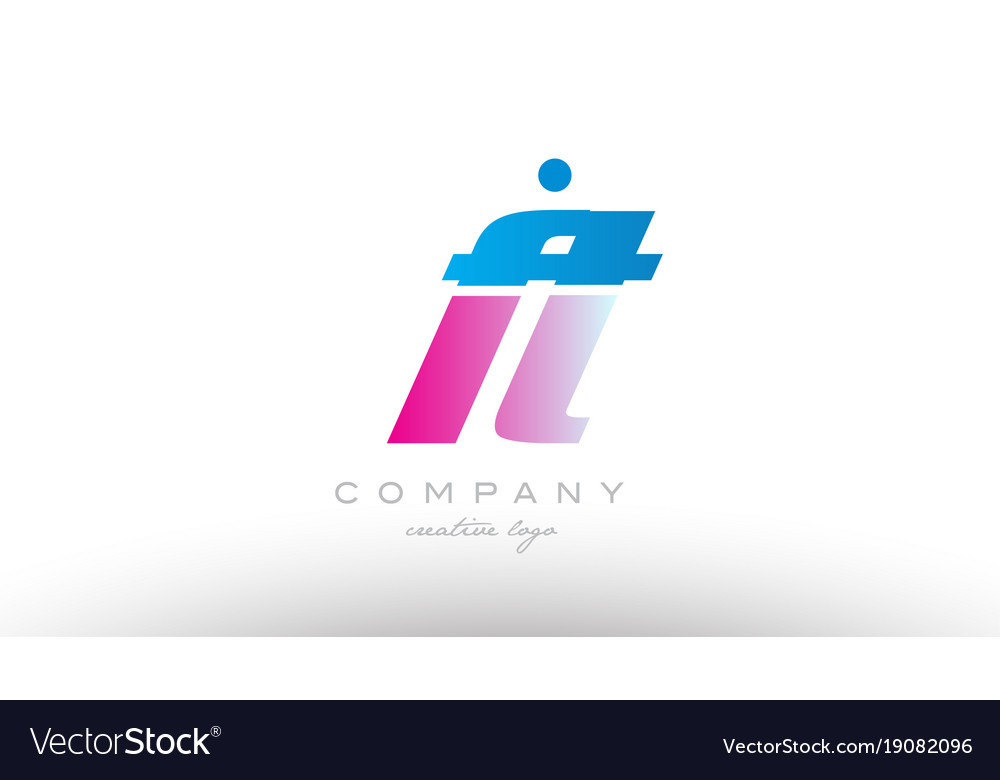Ft f t alphabet letter combination pink blue bold vector image