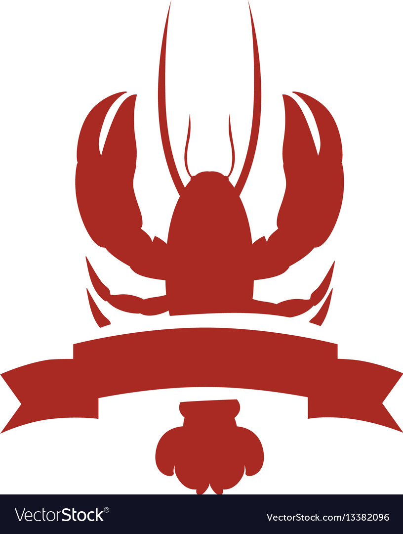 Red silhouette lobster with ribbon vector image