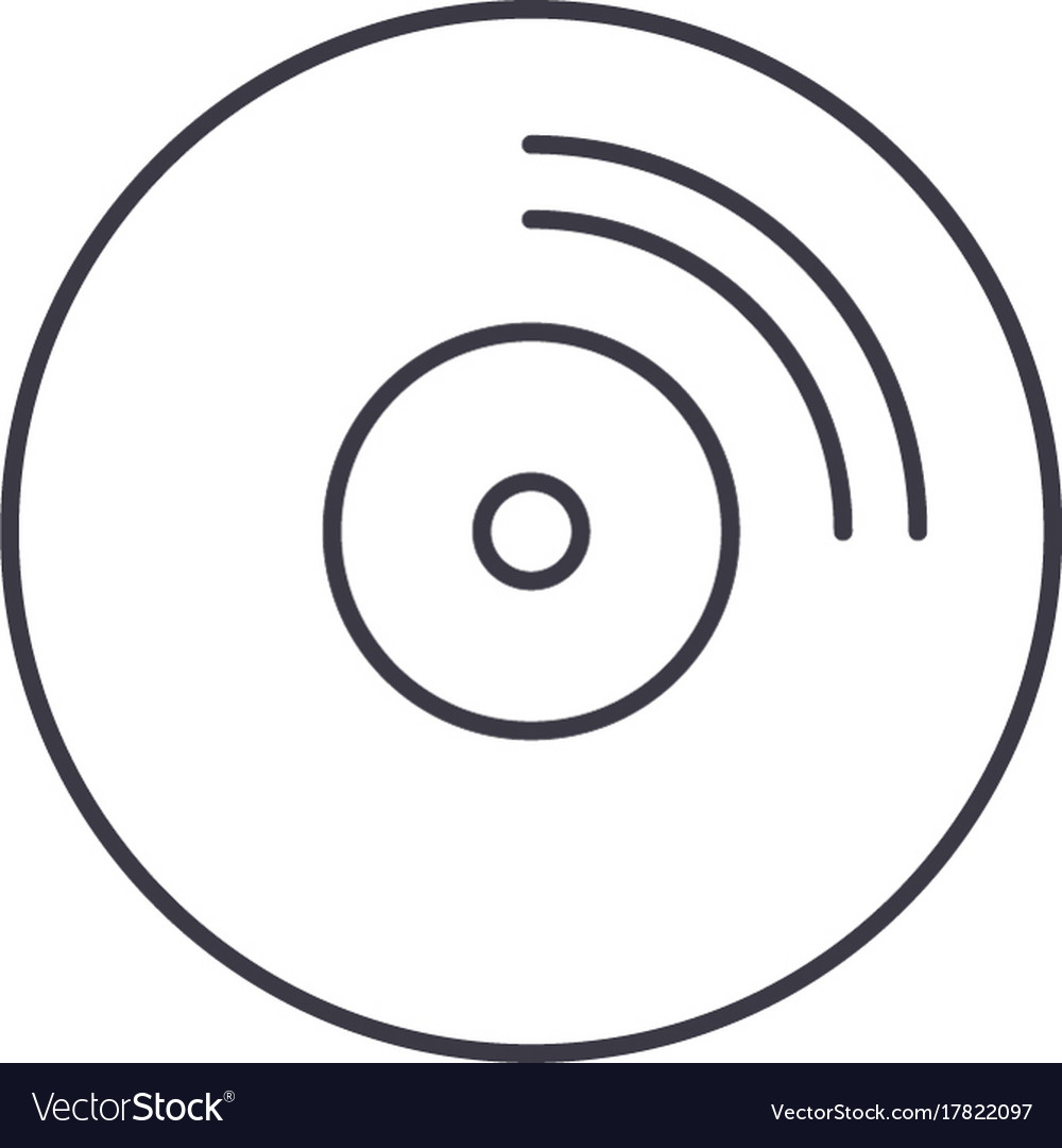 Cd disc line icon sign on vector image