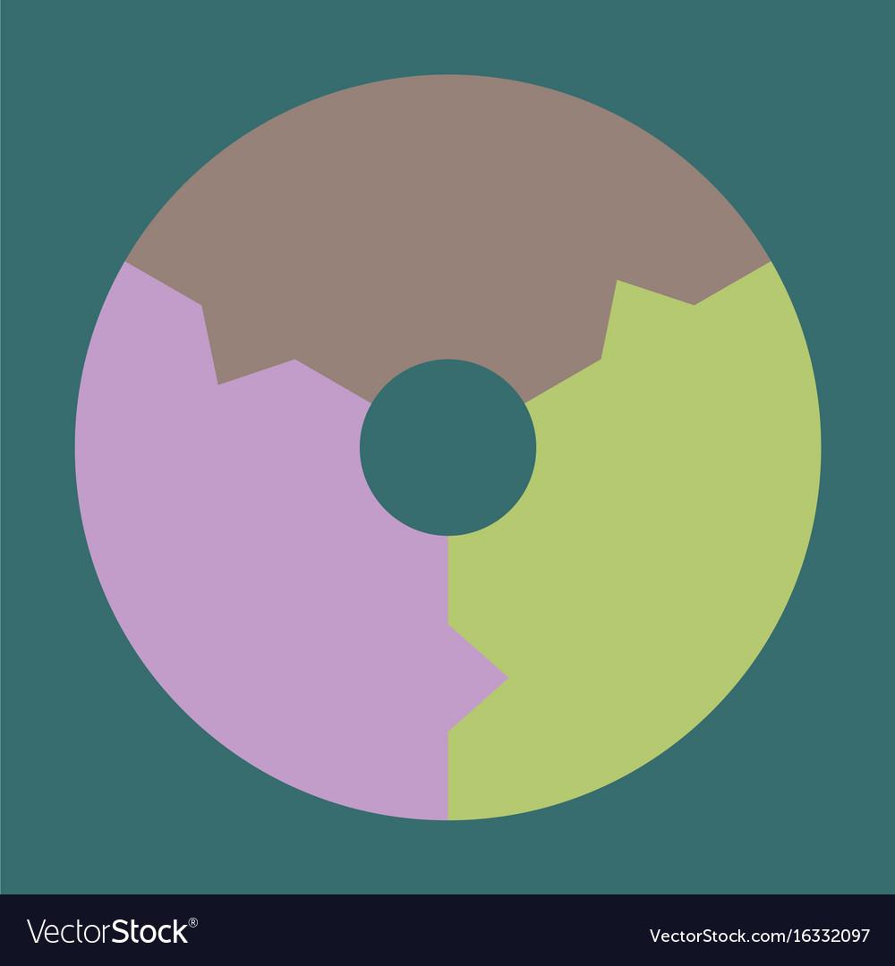 Flat icon on stylish background pie chart vector image nvjuhfo Choice Image