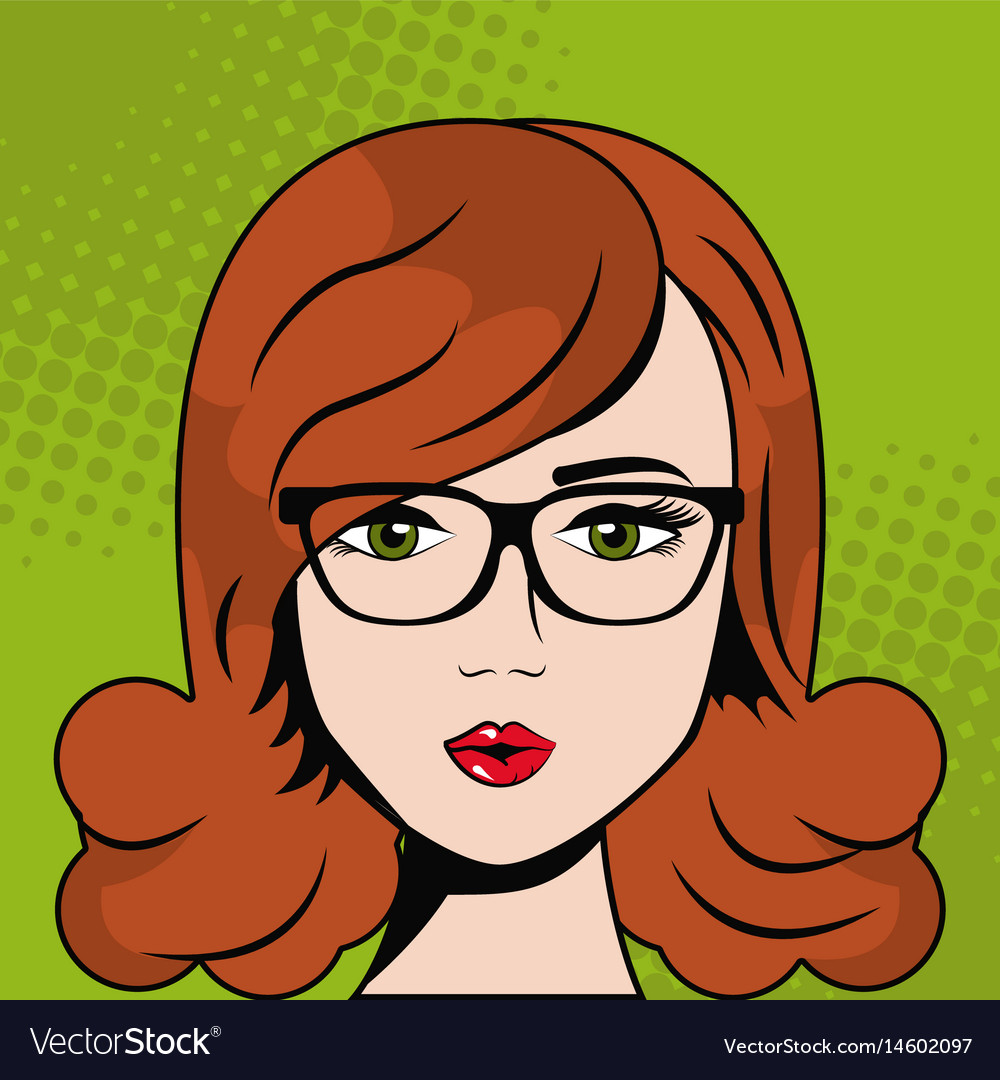Woman with glasses sexy pop art comic vector image