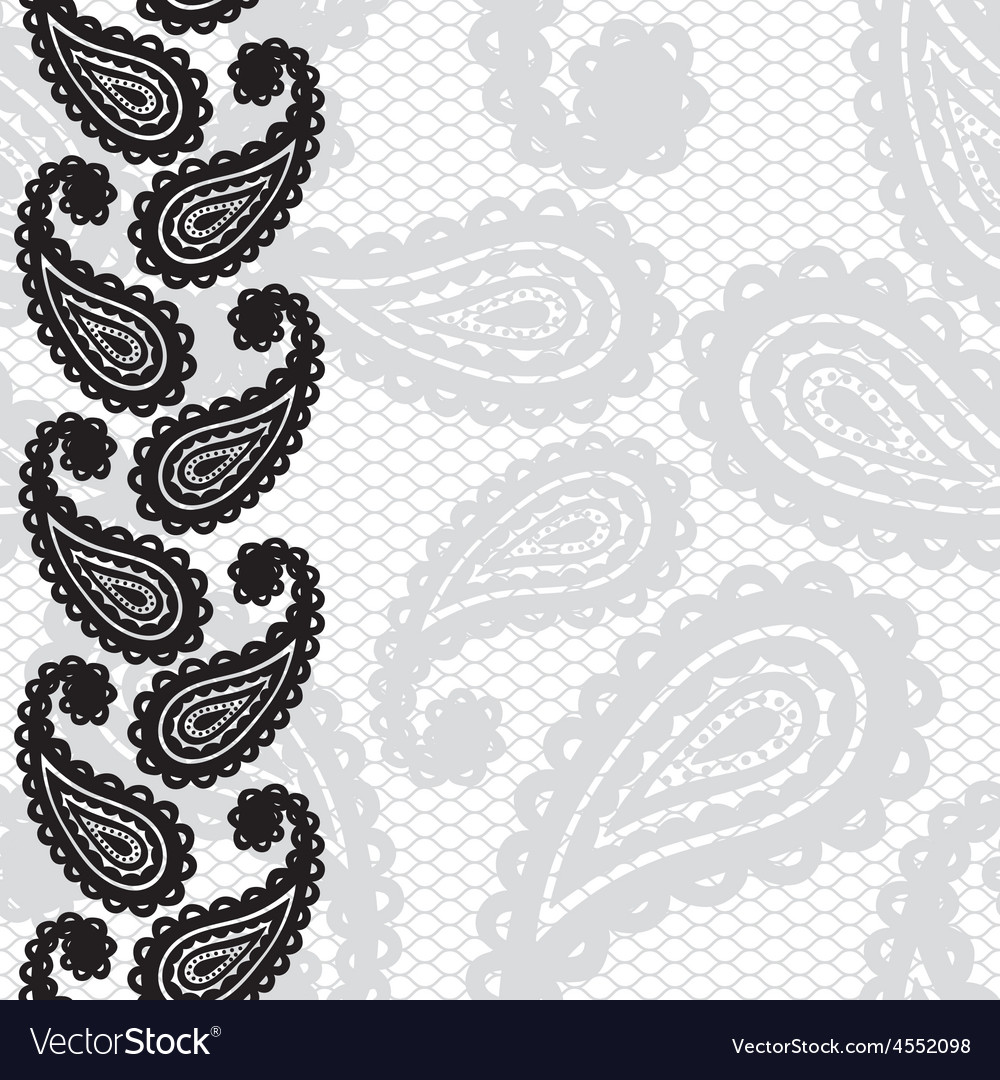 Lace seamless pattern with paisley vector image