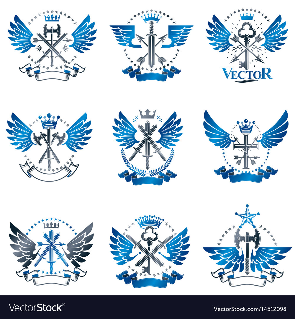 Vintage weapon emblems set heraldic signs vintage vector image