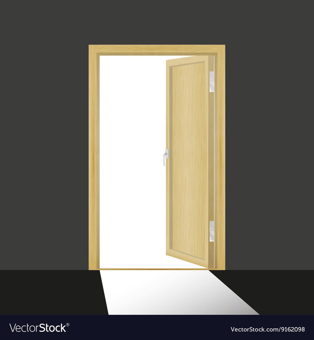 Open Door Dark Room wooden open door in a dark room royalty free vector image