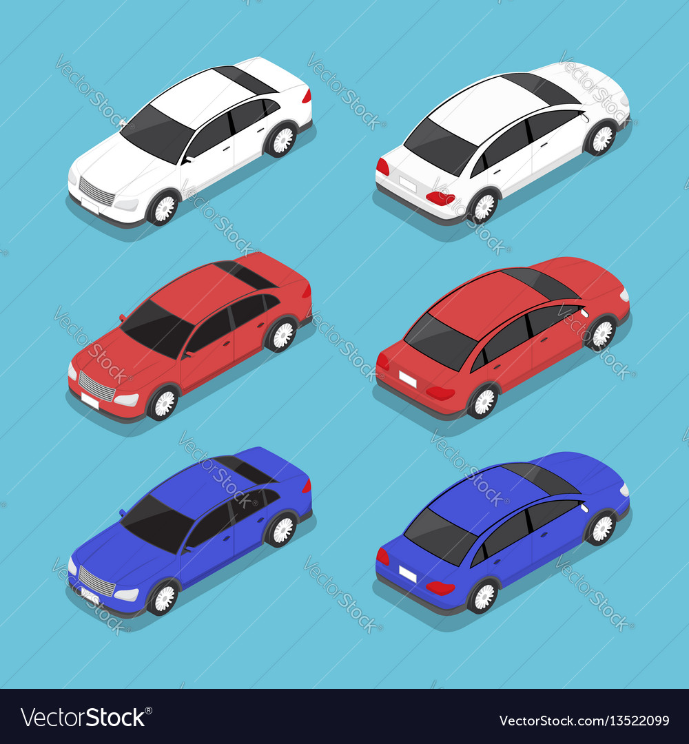 Flat 3d isometric car Royalty Free Vector Image