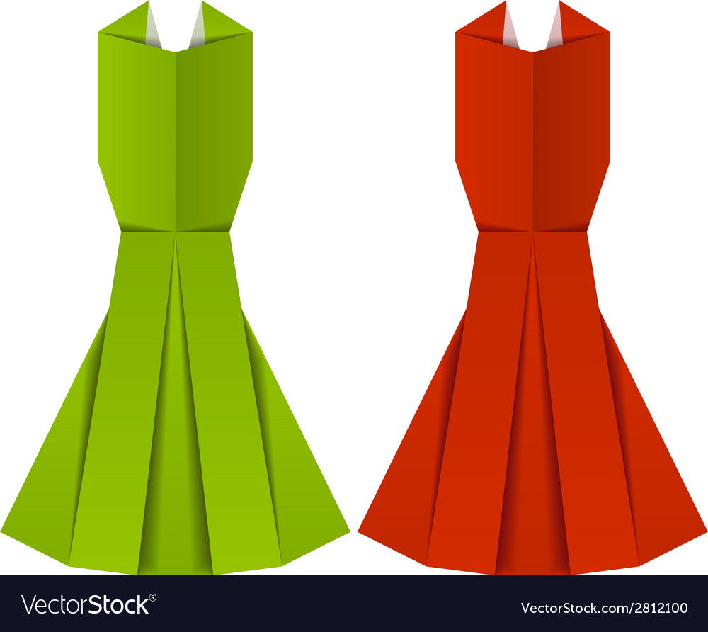 Origami paper ladies evening garments vector image