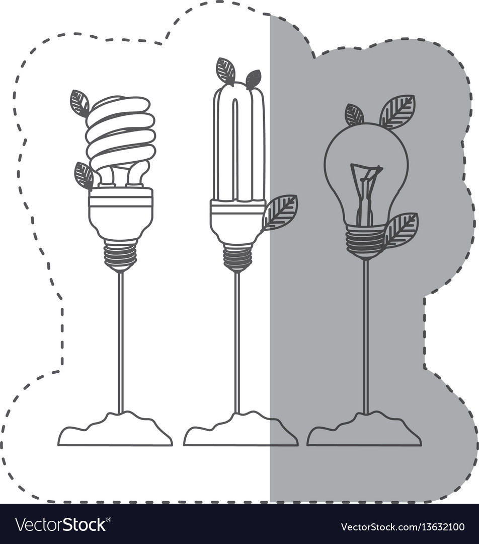 Sticker with grayscale contour with incandescent vector image
