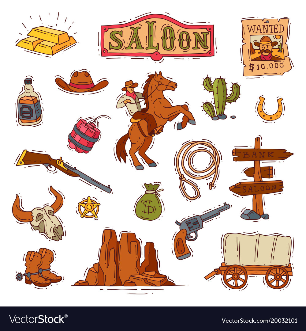 Wild west western cowboy or sheriff in vector image
