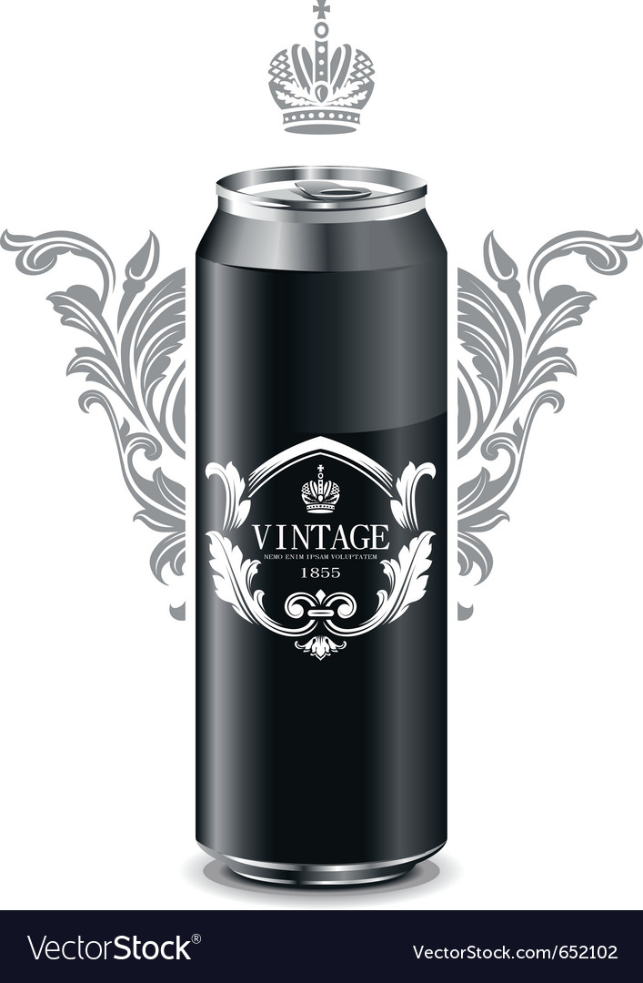 Can with vintage picture vector image