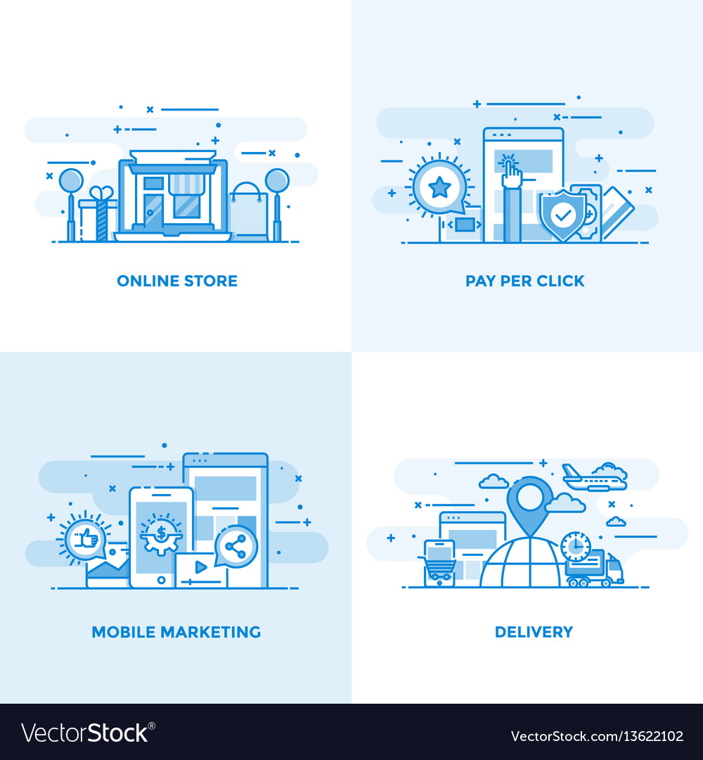 Flat line designed concepts 8 vector image