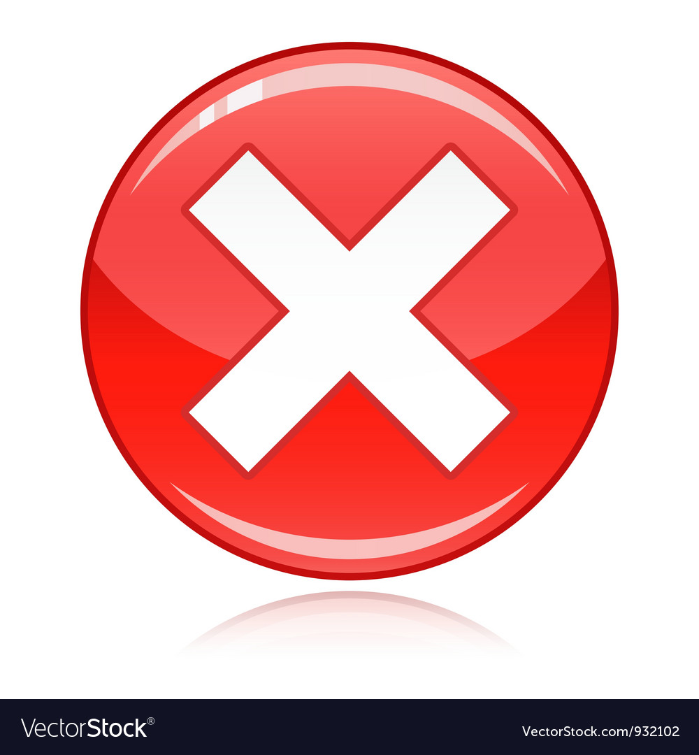 Red cross button refuse wrong answer cancel vector image buycottarizona Image collections