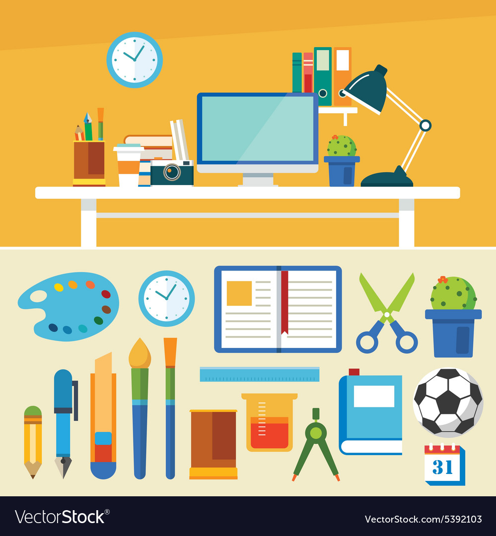 Education and equipment banner flat design vector image