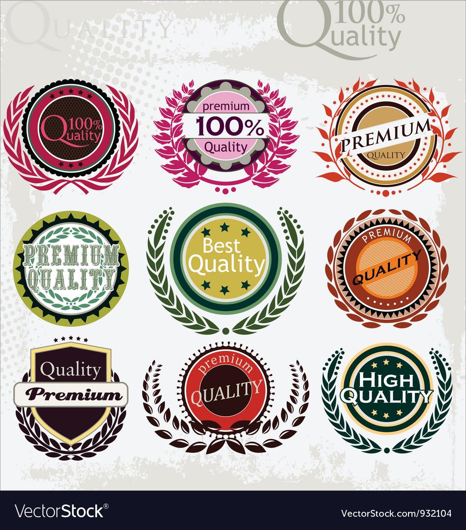 Set of vintage retro premium quality labels vector image