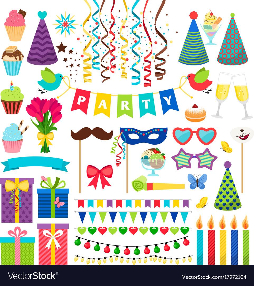 Birthday party design elements birthday Royalty Free Vector