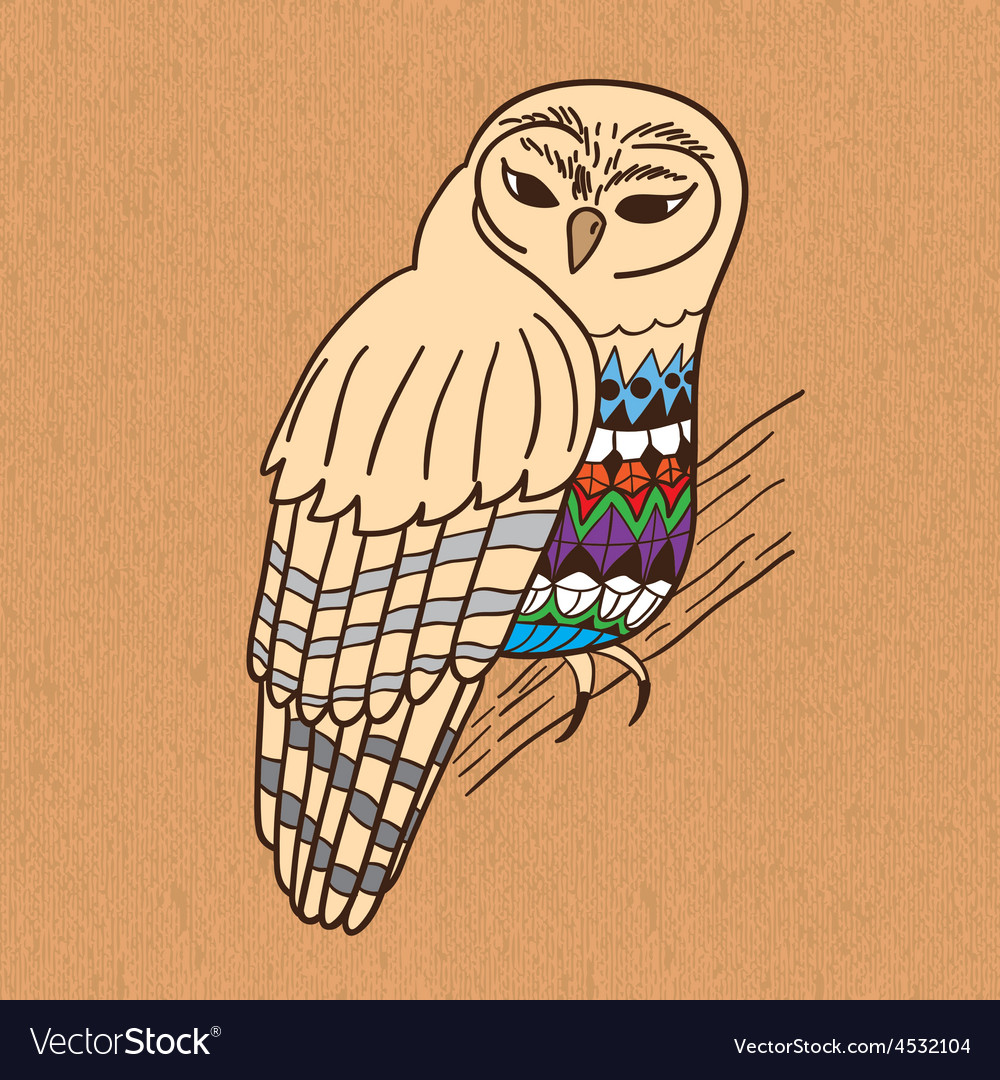 Hand drawn owl on canvas vector image