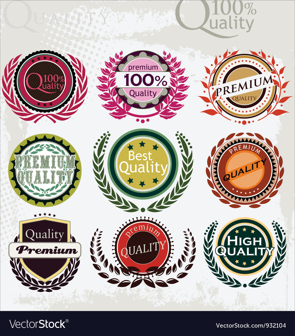 Set of vintage retro premium quality labels vector image