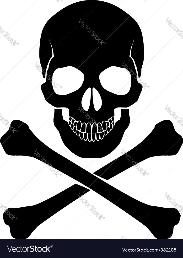 Crossbones and skull vector image