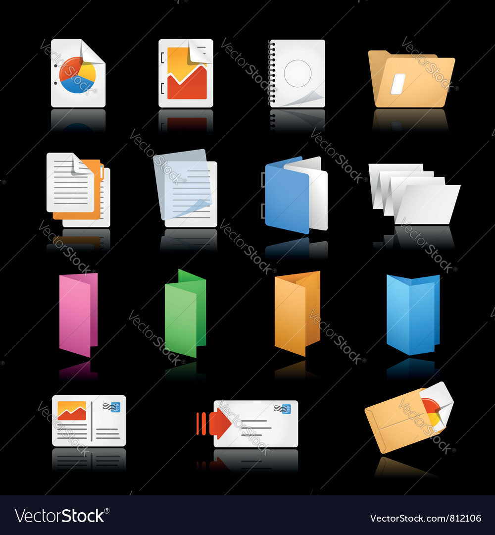Printing Icons Black Background vector image